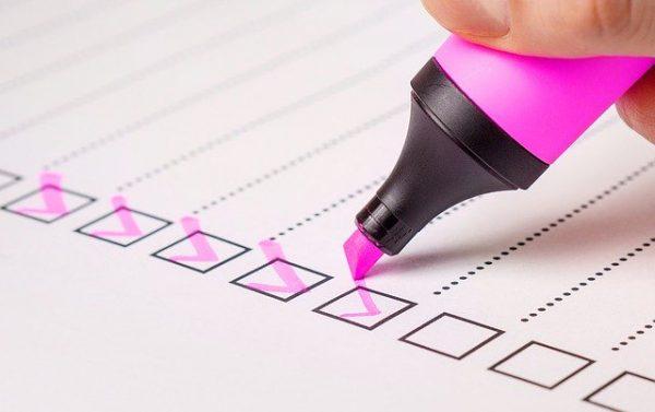 Checkliste für die Fotorallye mit Checkboxen